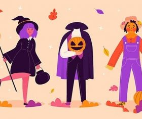 Hand-Drawn halloween character collection vector