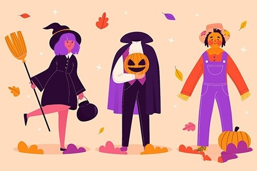 Hand Drawn halloween character collection vector