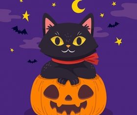 Hand-drawn design halloween cat vector