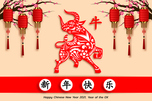 Happy Chinese New Year Bull 2021 decorative background vector