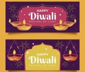 Happy Diwali Indian Banner Vector