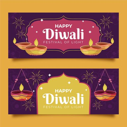 Happy Diwali Indian Banner Vector
