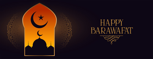Happy barawafat and mosque silhouette vector