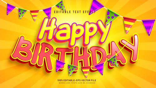 Happy birthday font text effect in vector