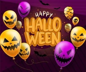 Happy halloween background template balloons vector