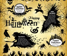 Happy halloween black silhouette elements vector