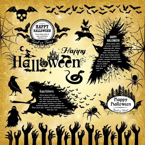 Happy halloween black silhouette elements vector