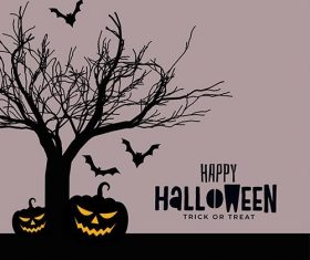 Happy halloween scary spooky card design vector