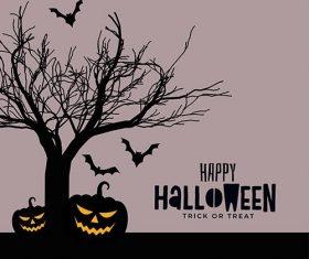 Happy halloween scary spooky card design vector