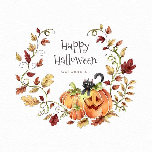 Happy halloween wreath of autumn leaves vector