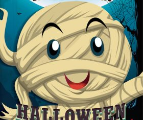 Happy little zombie halloween poster vector