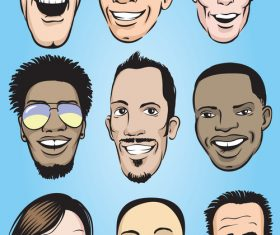 Happy men faces vector