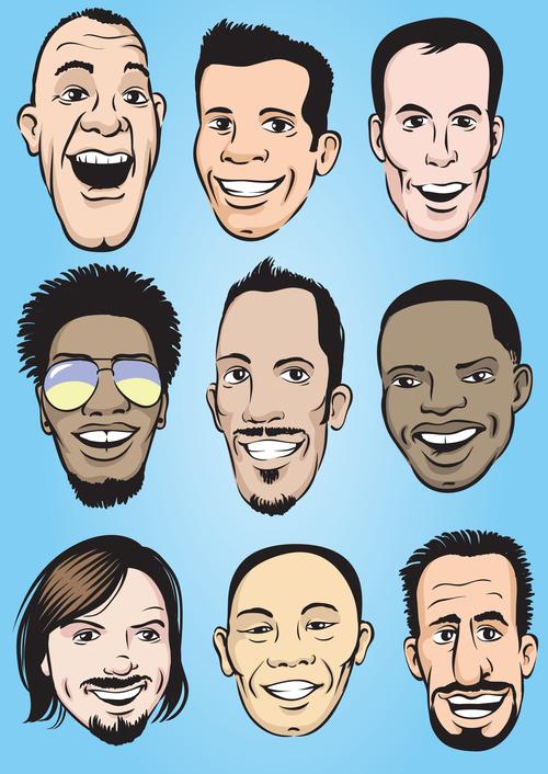 Happy men faces vector