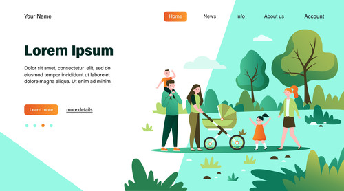 Happy people flat illustration design landing page vector