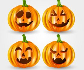 Happy pumpkin emoji halloween card vector