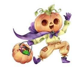 Happy pumpkin people cartoon vector