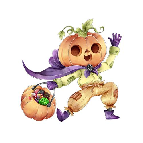 Happy pumpkin people cartoon vector