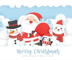 Happy santa and snowman vector