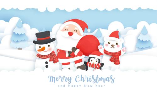 Happy santa and snowman vector