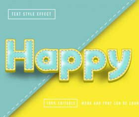 Happy two-color editable font effect text vector