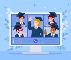 Happy virtual graduation concept illustration vector