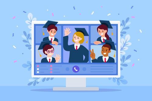 Happy virtual graduation concept illustration vector