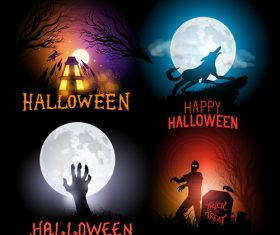 Haunted house and cemetery halloween illustration vector