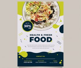 Health fresh food flyers vector