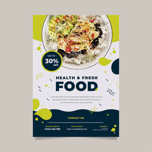 Health fresh food flyers vector
