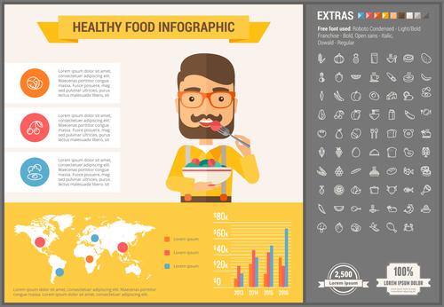 Healthy food infographic vector
