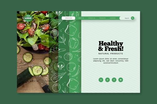 Healthy food landing page vector