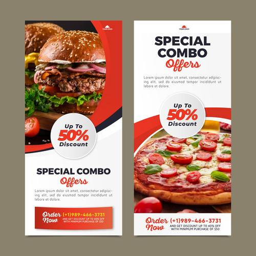 Healthy is delicious combo meals discount poster vector