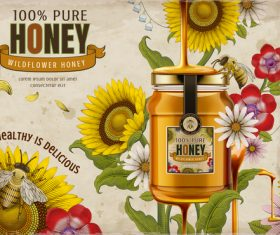 Healthy is delicious pure wild honey advertising vector