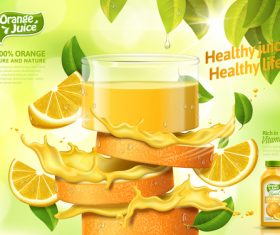 Healthy juice advertising vector