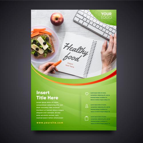 Healthy recipe flyers vector
