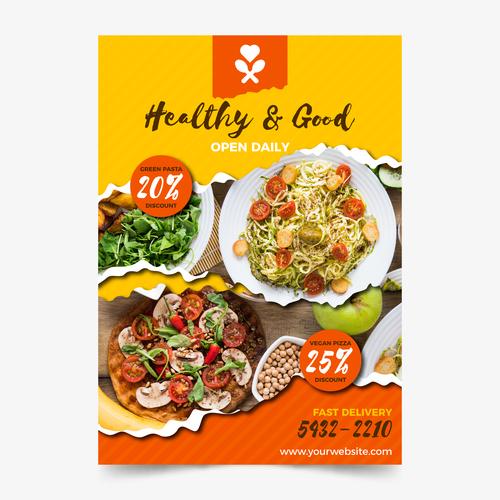 Healthy salad flyers vector