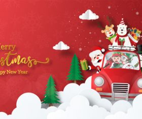 Hi merry christmas greeting card vector