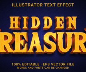 Hidden treasure editable font effect text vector