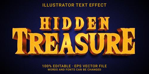 Hidden treasure editable font effect text vector