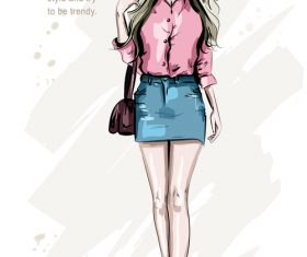 Hipster girl watercolor painting illustration vector