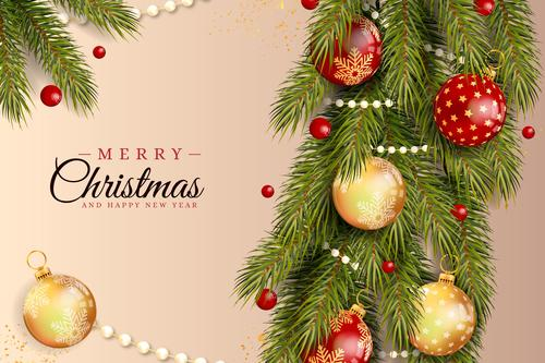 Holly branches and colorful balls decoration Christmas card vector