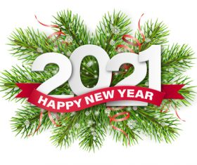 Holly branches decoration background 2021 new year vector