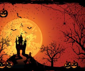 Illustration halloween night castle vector