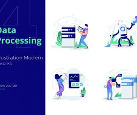 Illustration set Data Processing vector