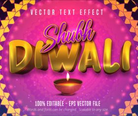 Indian Diwali editable font effect text vector