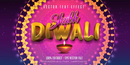 Indian Diwali editable font effect text vector