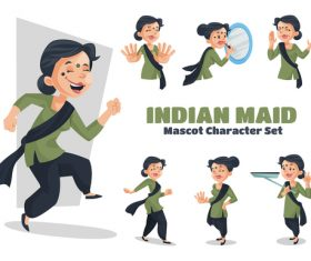 Indian maid cartoon vector