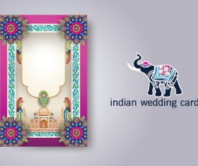 Indian wedding card vector
