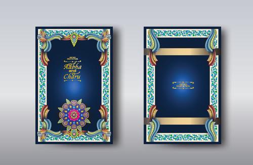 Indian wedding invitation card vector