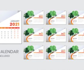 Indoor plants background 2021 desk calendar vector